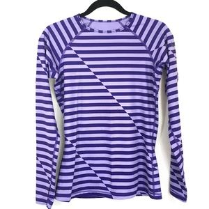 Nike Dry Fit Fitted Striped Long Sleeve Top Sz M